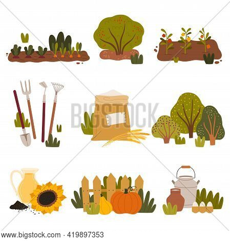 Husbandry And Farming With Garden Bed, Agricultural Crops And Local Products Vector Set