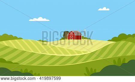 Country View With Sown Field, Barn House And Pasture Land As Green Landscape Vector Illustration