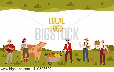 Local Food Banner With Farmers Harvesting Crops And Livestock Breeding Vector Illustration