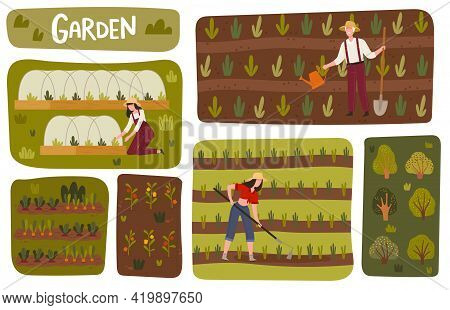 Garden Beds And Orchard With Man And Woman Farmer In Straw Hat Cultivating Soil And Pulling Weeds Ve