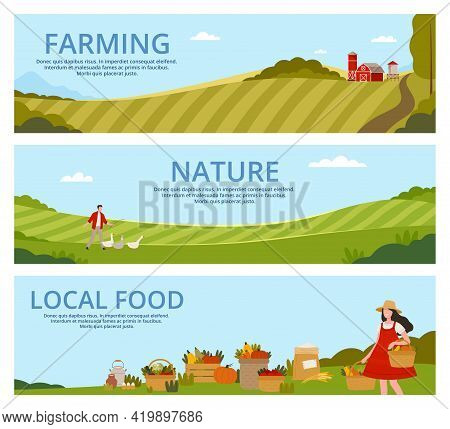 Organic Farming And Local Food Landing Page Template With Agricultural Fields And Ripe Crop Yield Ve