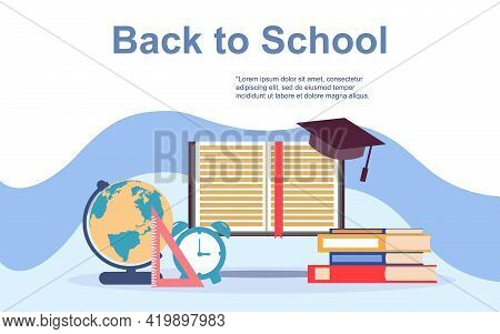 Landing Page Template Of Back To School. Modern Flat Design Concept Of Web Page Design For Website A