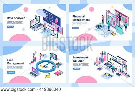 Set Of Landing Page Design Templates For Data Analysis, Digital Marketing Strategy, Incease Your Rev