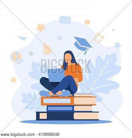 Girl Sitting On Pile Of Books With Laptop. Concept Illustration Of E-learning, Distance Studying And