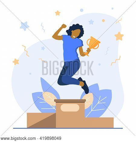 Cartoon Vector Illustration Of Woman Concept Winner Success. Excited Smiling Cartoon Female Hold In