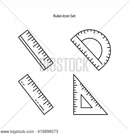Ruler Icon Set Isolated On White Background From Education Collection. Ruler Icon Thin Line Outline