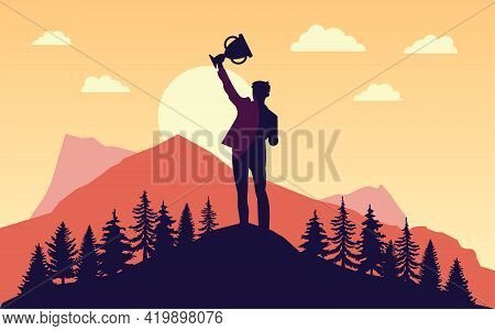 Prevail - Silhouette Of Man With Raised Hands Trophy In Front Of Sun. Landscape, Nature And Mountain