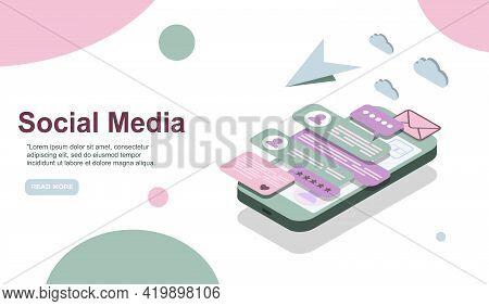 Modern Isometric Social Media Marketing Illustration, Suitable For Website, Infographics, Book Illus