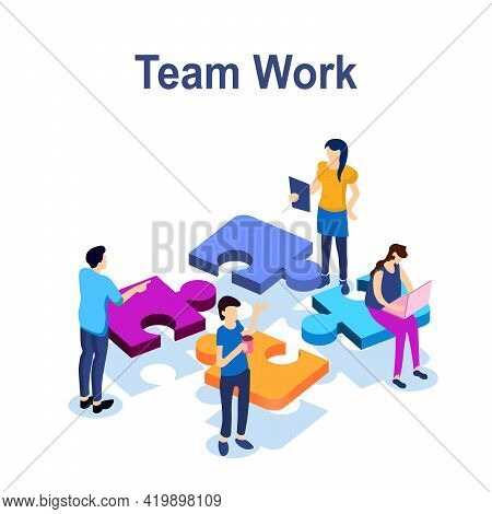 Teamwork Success Isometric Icon, Puzzle Business Solution, Working Together, Association Of People,