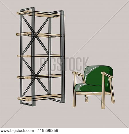 Rack, Armchair, Comfort, Wardrobe, Living Room. Part Of A Set Of Furniture And Interior Accessories.