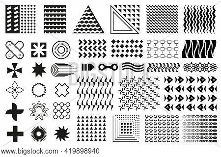 Memphis Set. Collection Of Black Flat Geometric Design Elements. Memphis Shapes Isolated On White Ba