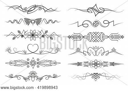 Set Of Text Delimiters For Your Projects. Vector Flourish Linear Illustrations With Curls And Flower