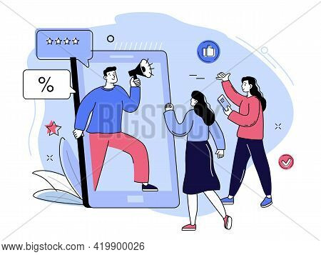 Social Media Promotion And Customer Attraction. Digital Marketing Team Lead Concept. Smm Campaign. I