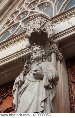 Detail Of Cathedral Of The Holy Cross And Saint Eulalia In Barri Gothic Quarter In Barcelona, Catalo