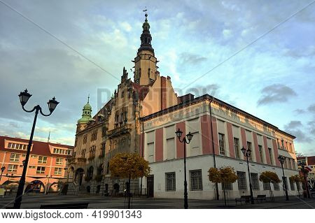 Historic Town Hall With A Tower On The Market Square In Jawor In Poland