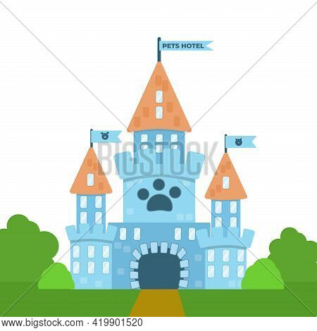 Cartoon Castle With Flags And Pet Portraits. A Blue Building With Animal Footprints. Nice Hotel For