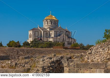 Scenic View Of The Vladimir Cathedral In Chersonesos Tauride, Crimea.