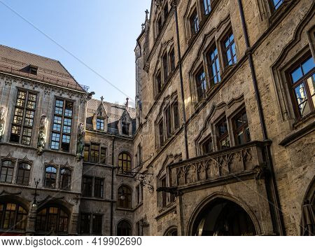 The New Town Hall, Is A Town Hall At The Northern Part Of Marienplatz In Munich, Bavaria, Germany. I