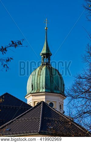 View Of Famous Old North Cemetery Of Munich, Germany With Historic Gravestones. Funerals Have Not Be