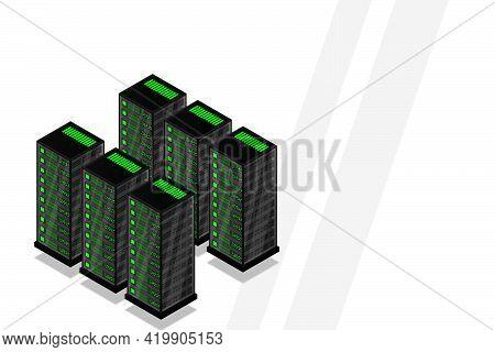 Mainframe, Powered Server, High Technology Concept, Data Center, Cloud Data Storage