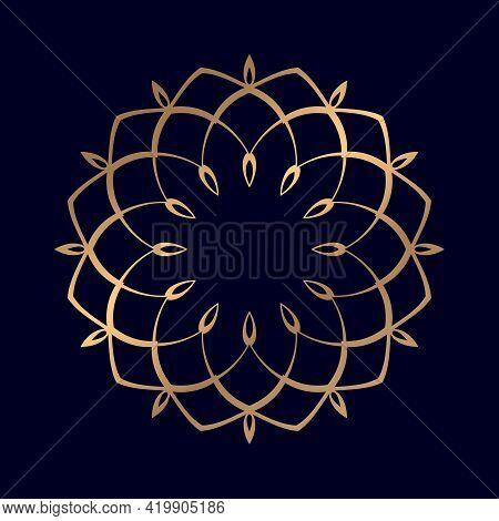 Luxury Mandala Vector For Coloring Book. Golden Arabesque Ornamental Mandala Wedding Card Cover Weav