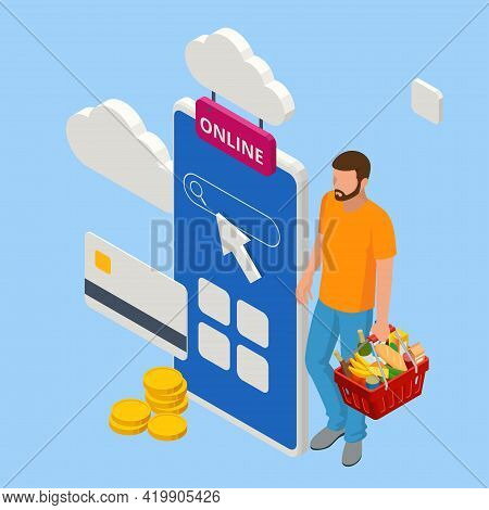 Isometric Man Order Online In Internet Supermarket. Grocery Online Shopping Application On Smartphon