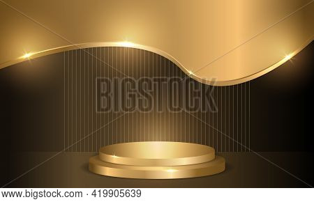 Golden Circle Podium On Dark Luxury Background. Three-dimensional Pedestal, Round Scene, Display For