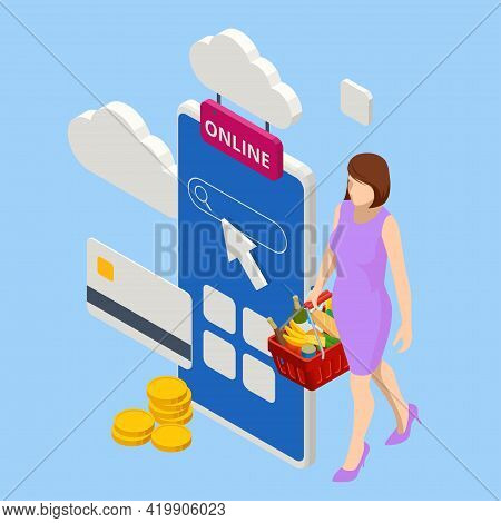 Isometric Woman Order Online In Internet Supermarket. Grocery Online Shopping Application On Smartph