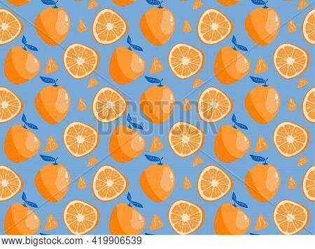 Orange Fruit Whole And Half Sliced Seamless Pattern. Tropical Ruit With Leaves Orange And Blue Repea