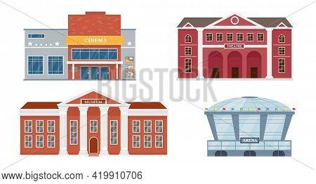Facades Of Opera Theatre, Cinema, Museum And Stadium.
