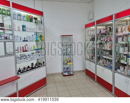 Russia, St. Petersburg 11,04,2021 Various Drugs On The Shelves In The Showcases Of The Pharmacy