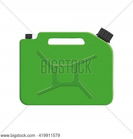 Gasoline Canister With Cap. Green Petrol Jerrycan Isolated On White Background. Vector Cartoon Illus