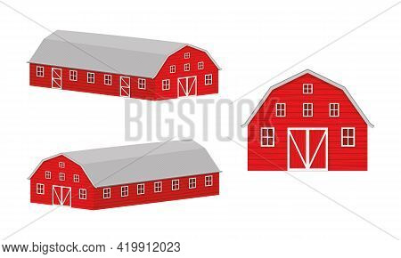 Wooden Barn Front View And Isometric Projection. Red Farm Warehouse Building Isolated On White Backg