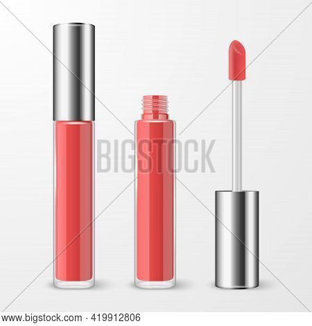 Vector 3d Realistic Closed, Opened Red, Pink Lip Gloss, Lipstick Package, Silver Cap Set Isolated. G