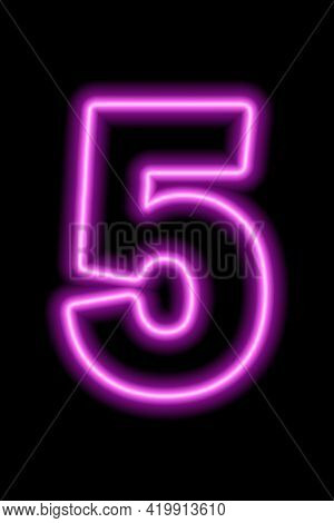 Neon Pink Number 5 On Black Background. Learning Numbers, Serial Number, Price, Place. Vector Illust