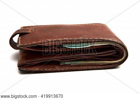 Wallet With Paper Money Isolated On White Background. Banknote Of One Hundred Belarusian Rubles. Min