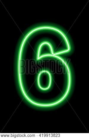 Neon Green Number 6 On Black Background. Learning Numbers, Serial Number, Price, Place. Vector Illus