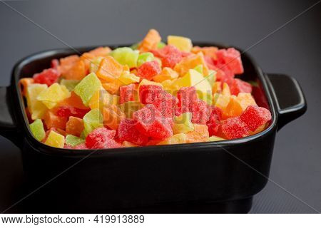 Multicolored Candied Fruits In A Plate. Multicolored Candied Fruits On Plate