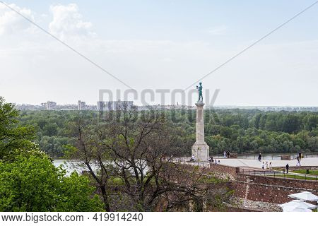 Belgrade, Serbia - May 2, 2021: The Winner Monument The Symbol Of The City Of Belgrade, Located At K