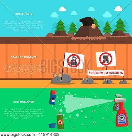 Pest Horizontal Banner Set With Moles And Mice Flat Elements Isolated Vector Illustration