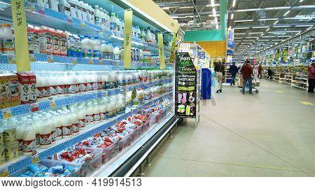 St. Petersburg, Russia - April 18, 2021: Dairy Products, Milk In Plastic Bottles On Supermarket Shel