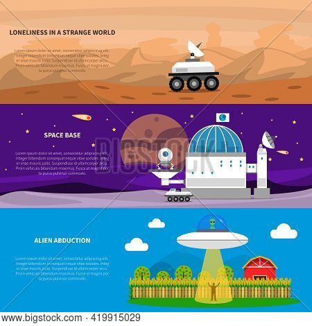 Cosmos Horizontal Banner Set With Alien Abduction Elements Isolated Vector Illustration
