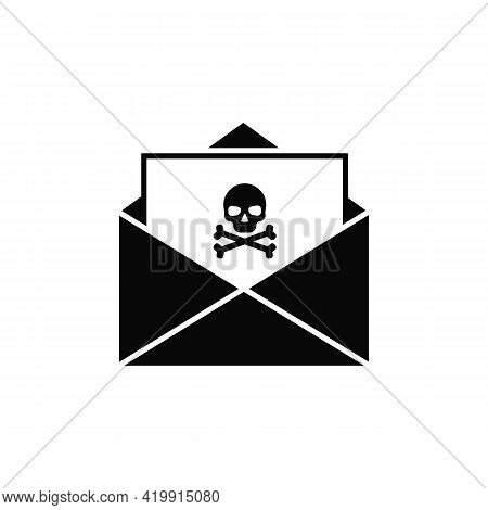 Spam Email. An Open Envelope With A Skull And Crossbones. The Concept Of Cybercrime, Fraud, Phishing