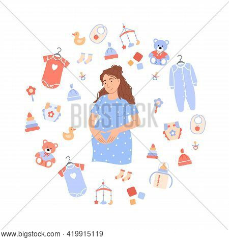 Flat Pregnant Woman On White Baby Background With Child Care Items Newborn Toy, Bib, Pacifier, Feedi