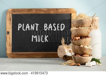 Ingredients for making various plan based lactose free vegan milk, bottles of milk and chalkboard with Plant based milk lettering on blue background
