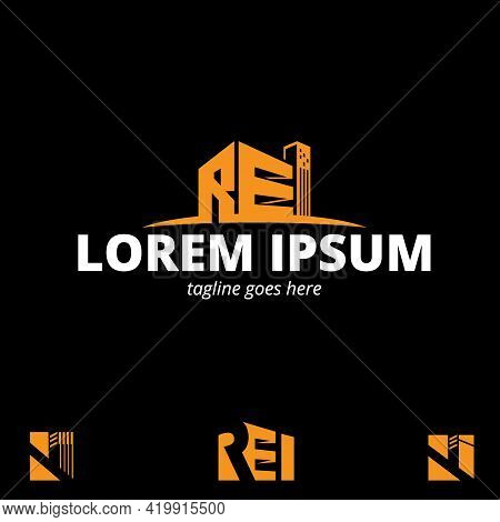 Rei Initial Letter Based Symbol Vector Set In Building Or Property Shape  Concepts