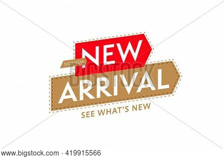 Sticker Template For Shop Store New Arrival Promotion. Fresh Product Or Renewed Goods Assortment Or
