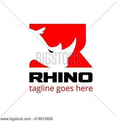 Rhino Head Letter Based Initial R Symbol Vector Illustration In Negative Space Style. A Bold Sporty