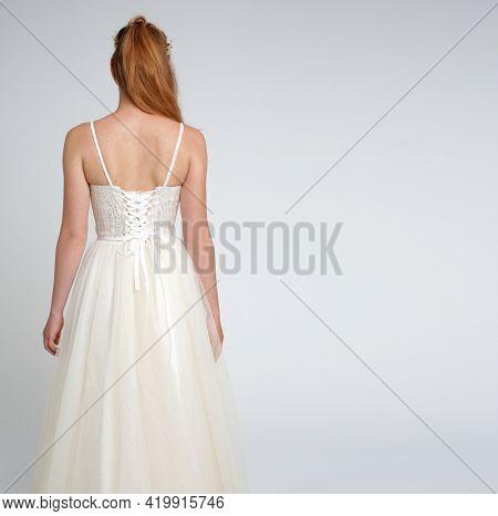 White wedding dress.  Fashion dress