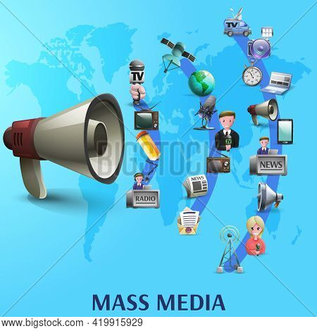 Mass Media Poster With News Makers And Devices Icons On Waves From Big Megaphone Cartoon Vector Illu